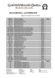 FELCO BESTELL- und PREISLISTE - Gartenversand Omega