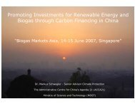 China Biogas and Carbon Funding