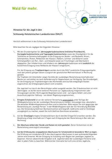 Hinweise für die Jagd in den Schleswig-Holsteinischen ...