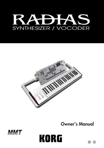 RADIAS Owner's manual - Korg
