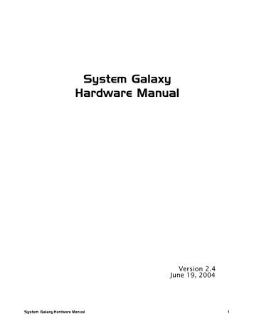 System Galaxy Hardware Manual - Galaxy Control Systems