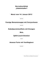 """Herrenkochklub """"Gabelstadler"""" Menü vom 14. Januar 2013 ..."""
