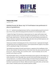PRESS RELEASE Garfield County Air Show July 13-14 will feature ...