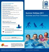 Summer Holidays 2011 Activities and Pool ... - Fusion Lifestyle