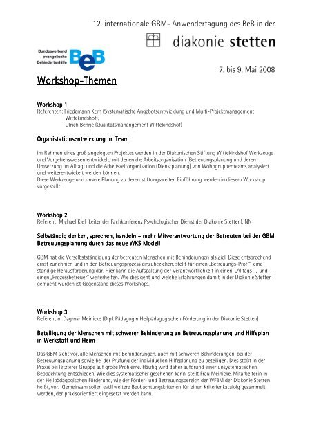 Workshop-Themen - GBM