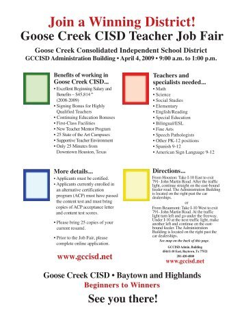 See the flyer - Goose Creek Consolidated Independent School District