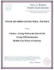 living will packet cover - Franklin County, Ohio