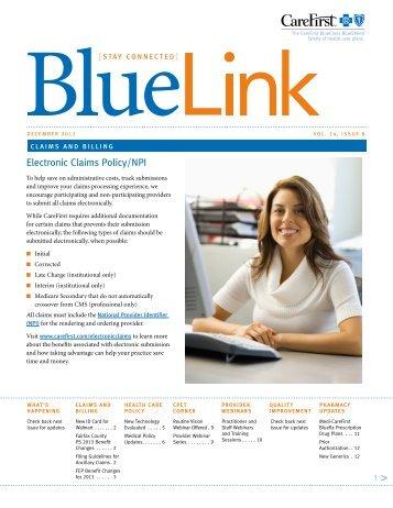 CareFirst BlueLink December 2012