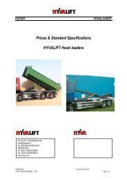 Prices & Standard Specifications HYVALIFT Hook loaders - Fixus