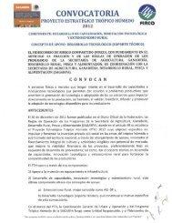 Convocatoria Desarrollo Tecnologico Tropico Humedo 2012 - Firco
