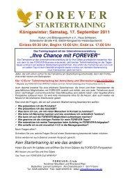 FOREVER–Startertraining am Samstag, 17. September 2011 ...