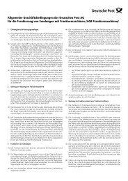 AGB´s Deutsche Post AG bei Nutzung eines Frankiergerätes - Frama