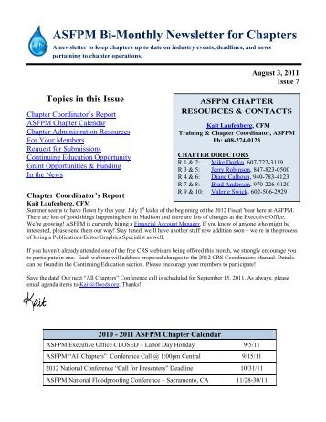 ASFPM Chapter Newsletter, Issue 7, August 2011 - The Association ...