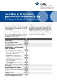 Information für die freiwillige gesundheitliche Selbsteinschätzung