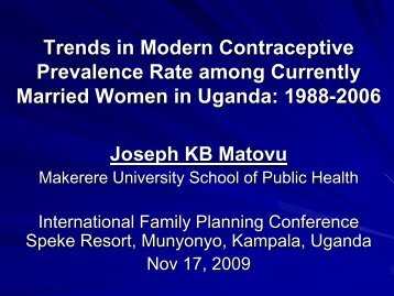 Trends in Modern Contraceptive Prevalence Rate among Currently ...