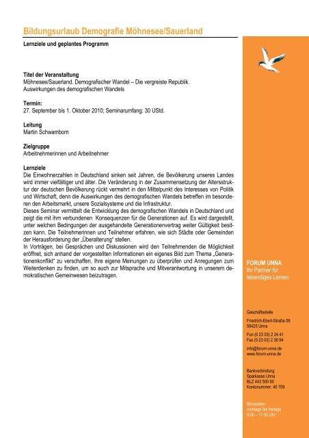 Programm Moehnesee Demografie 2010 - Forum Unna