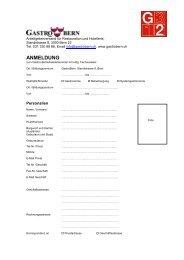 Anmeldeformular Betriebsleiter - GastroBern