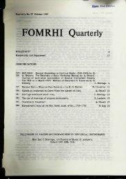 FOMRHI Quarterly