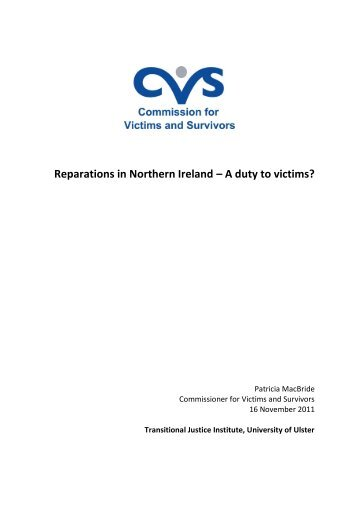 Reparations in Northern Ireland – A duty to victims? - Transitional ...