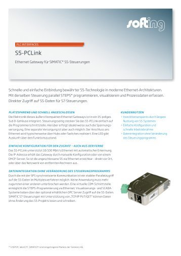 S5-PCLink Datenblatt - Softing Industrial Automation