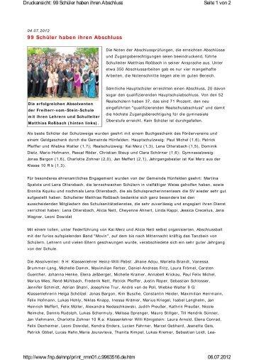 99 Schüler haben ihren Abschluss - Freiherr-vom-Stein-Schule