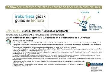 Juventud inmigrante - Gazteaukera - Euskadi.net