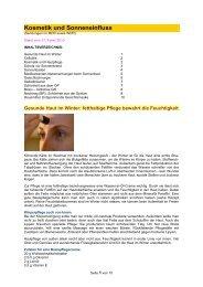 Kosmetik und Sonneneinfluss - Forum-Bioenergetik eV