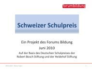 Rainer Huber: Die Idee eines Schweizer Schulpreises - Forum Bildung