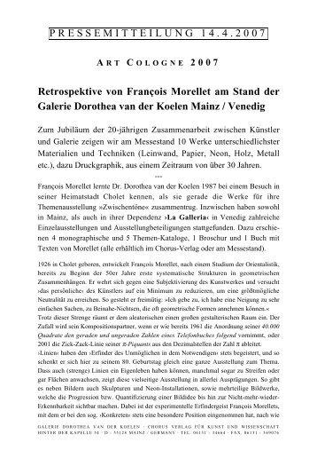 PRESSEMITTEILUNG 1 4 . 4 . 2 0 0 7 Retrospektive von François ...