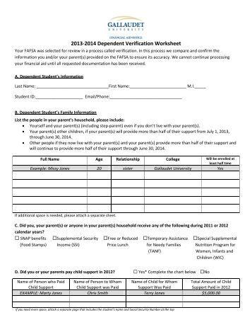 Worksheets Dependent Verification Worksheet dependent verification worksheets v1 academy of art university 2013 2014 worksheet gallaudet university