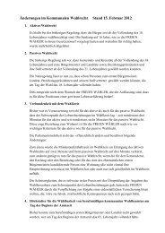 Änderungen im Kommunalen Wahlrecht Stand 15. Februar 2012