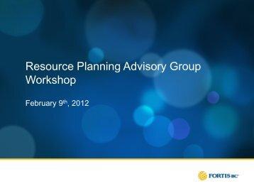 Resource Planning Advisory Group Workshop - FortisBC