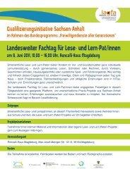 Landesweiter Fachtag für Lese- und Lern-Pat/innen - Sachsen-Anhalt