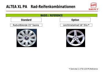 ALTEA XL PA Rad-Reifenkombinationen BASIS ... - Autohaus Bohnes