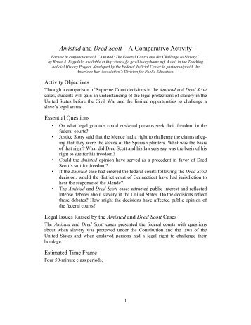 Amistad and Dred Scott—A Comparative Activity - Federal Judicial ...