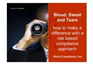 Blood, Sweat and Tears how to make a difference with a risk based ...