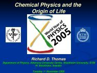 Chemical Physics and the Origin of Life