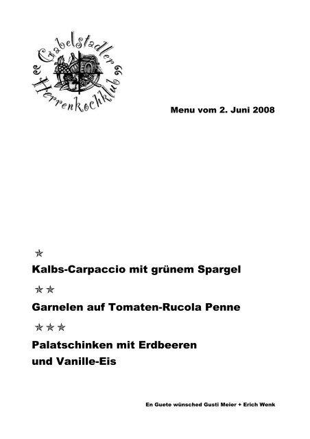 Kalbs-Carpaccio mit grünem Spargel Garnelen auf Tomaten-Rucola ...
