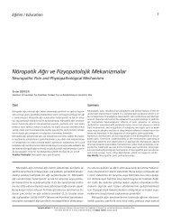 Nöropatik A¤r› ve Fizyopatolojik Mekanizmalar - FTR Dergisi