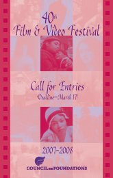 Call for Entries - Council on Foundations - Film & Video Festival