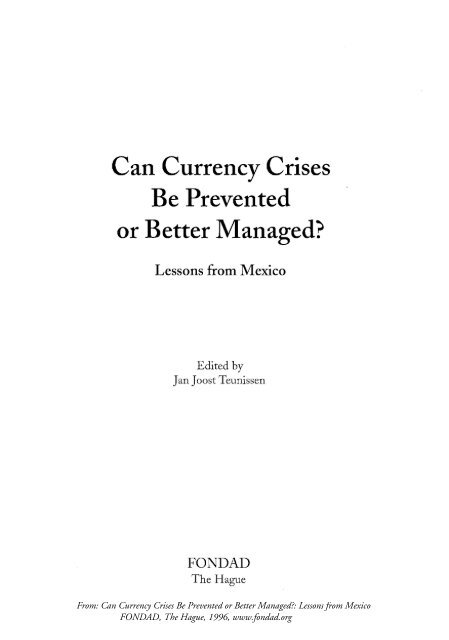 Can Currency Crises Be Prevented or Better Managed? - Professor ...