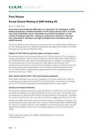 Press Release - GAM Holding AG