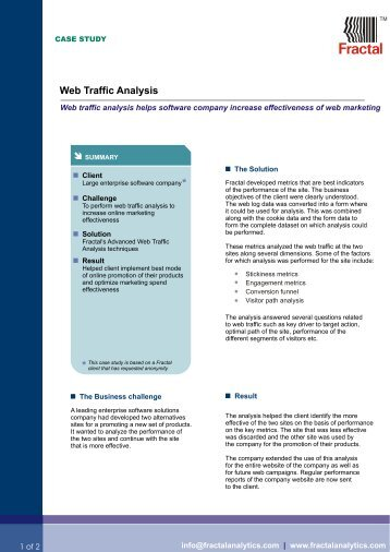 Web traffic Analysis Casestudy - Fractal Analytics