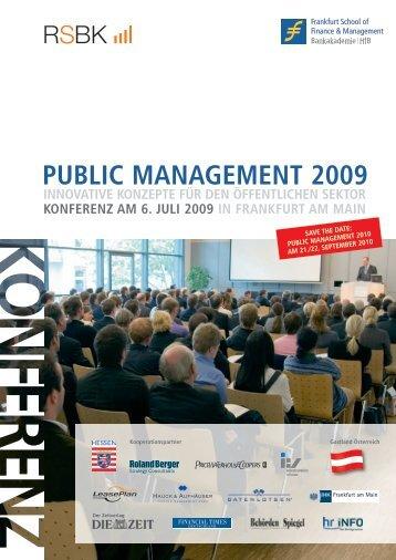 PUBLiC manaGement 2009 - Frankfurt School Verlag