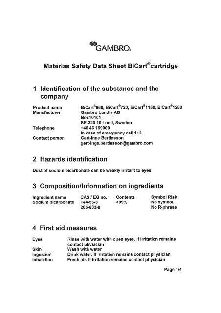 BiCart Sodium Bicarbonate Column - Gambro
