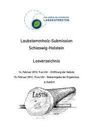 Laubstammholz-Submission Schleswig-Holstein Losverzeichnis