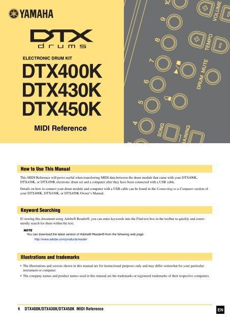 DTX400K/DTX430K/DTX450K MIDI Reference - Yamaha Downloads