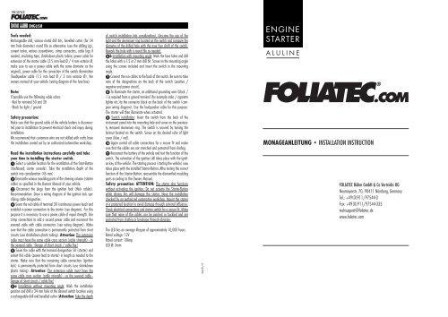 ENGINE STARTER - Foliatec