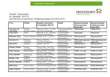 Zeit-Raumstruktur 2013 mit regulären Sprechzeiten ... - in Friedehorst