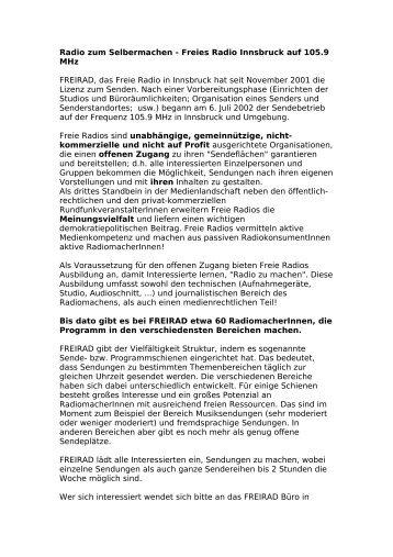 Radio zum Selbermachen - Freies Radio Innsbruck auf ... - Freirad